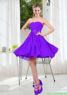 2016 Fall A Line Sweetheart Bridesmaid Dress in Purple