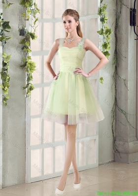 2016 Fall Lovely A Line Straps Ruching Bridesmaid Dresses with Bowknot