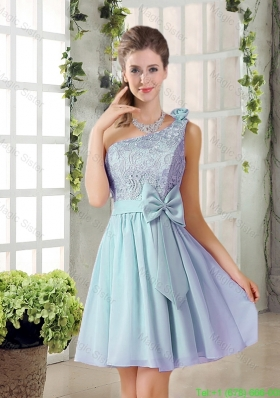 2016 Summer A Line One Shoulder Bridesmaid Dresses with Lace