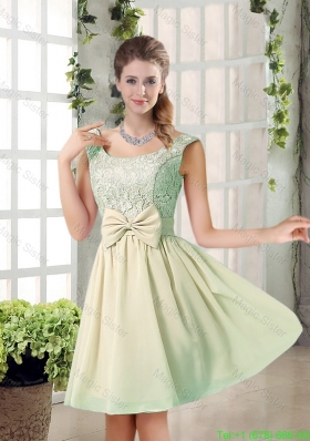 2016 Summer A Line Straps Lace Bridesmaid Dresses with Bowknot
