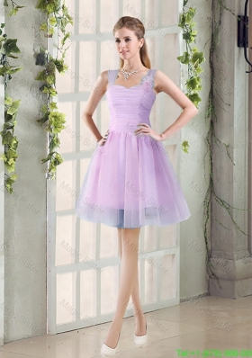 2016 Summer A Line Straps Ruching Bridesmaid Dresses with Hand Made Flowers