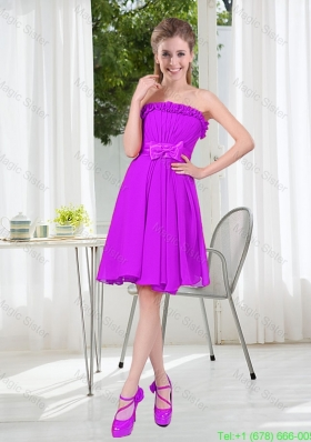 A Line Strapless Bowknot Short Bridesmaid Dresses