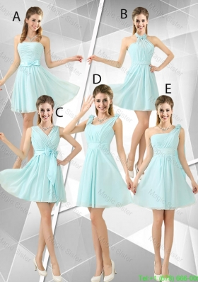 Beautiful A Line Ruched Bridesmaid Dresses in Light Blue