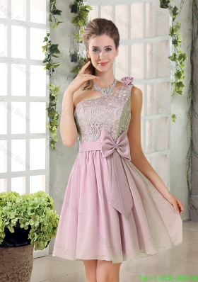 Discount A Line One Shoulder Pink Bridesmaid Dresses with Bowknot