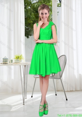 Elegant A Line Straps Green Bridesmaid Dresses with Hand Made Flowers