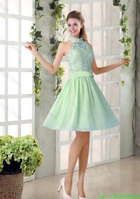 Fashionable 2016 Short Bridesmaid Dresses with High Neck