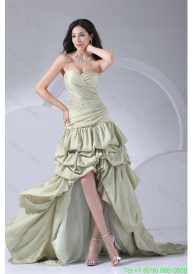 High-low Pike-ups Sweetheart Beaded Yellow Green Prom Gown