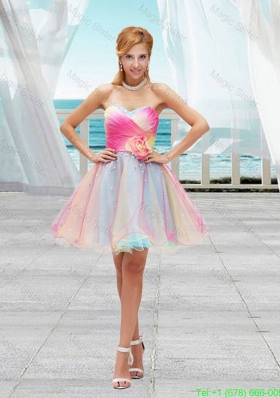 Lovely Multi Color Organza Sweetheart Prom Dresses with Ruching and Hand Made Flower