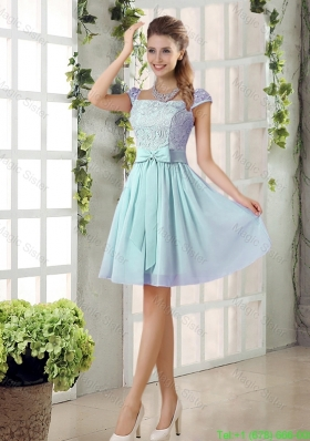 Perfect A Line Square Lace Bridesmaid Dresses with Bowknot
