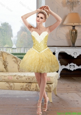 Romantic Beaded and Ruffles Prom Dresses in Gold for Cocktail