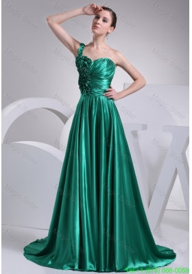 Ruffles and Ruching A-line One Shoulder Court Train Prom Dress