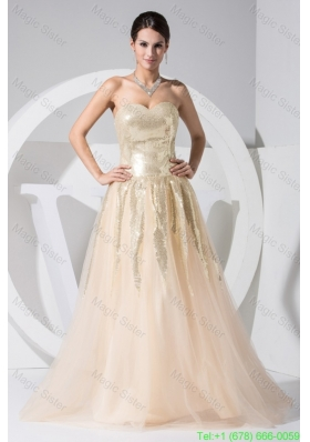 Sequins Decorasted Bodice Sweetheart Princess Prom Gown