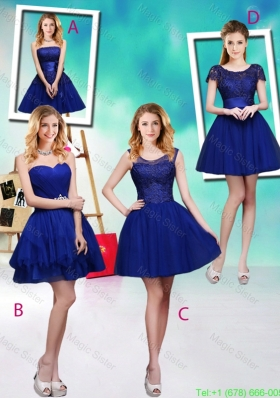 Wonderful Mini Length Royal Blue Bridesmaid Dresses with Appliques