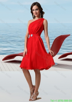 Amazing Chiffon One Shoulder Sleeveless Beading Prom Dress in Red