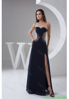 Asymmetrical Beaded Navy Blue Prom Holiday Dress with Cut Out