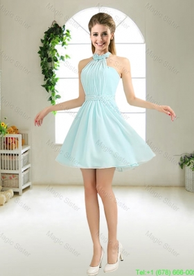 Cheap Halter Top Belt Light Blue Bridesmaid Dresses for 2016