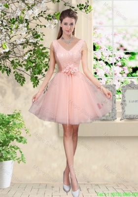 Decent V Neck Baby Pink Bridesmaid Dresses with Hand Made Flowers