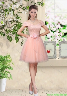 Discount Off the Shoulder Hand Made Flowers Bridesmaid Dresses in Baby Pink