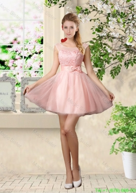 Sturning A Line Bateau Bridesmaid Dresses with Lace and Bowknot