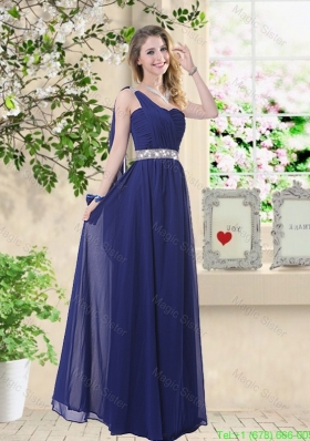 Comfortable One Shoulder Bridesmaid Dresses in Navy Blue