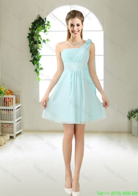 Feminine One Shoulder Hand Made Flowers Bridesmaid Dresse