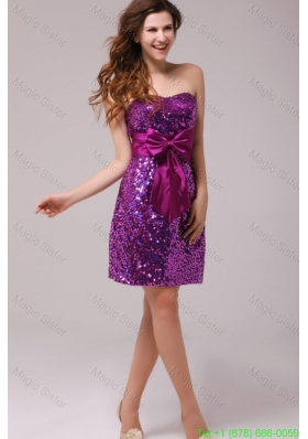 Fuchsia Sequin Sweetheart Sash Column Short Prom Dress