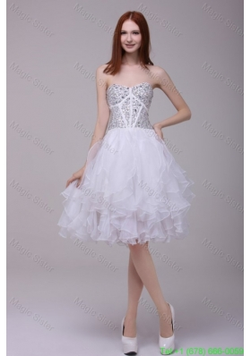 Princess White Beading and Ruffles Organza Cocktail Dress