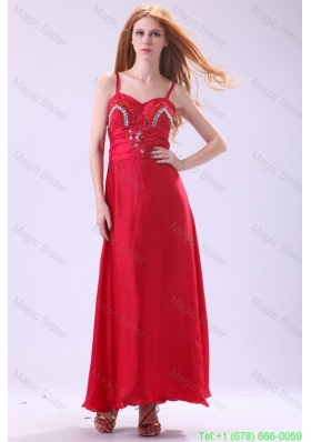 2016 Column Straps Ankle-length Beading Red Chiffon Celebrity Dress