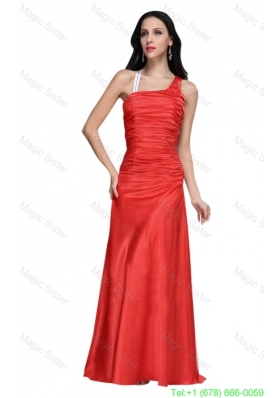Asymmetrical Column Red Ruche Celebrity Dress with Sweep Train