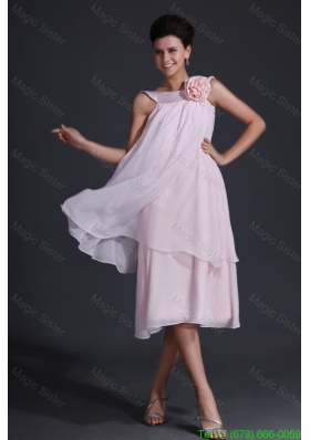 Baby Pink Bateau Flowers Bridesmaide Dress with Tea-length