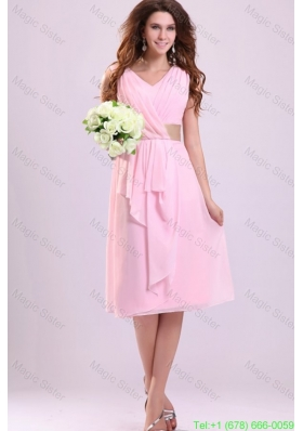 Baby Pink Empire V-neck Chiffon Bridesmaide Dress with Ruches