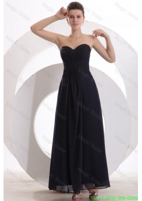Beaded Decorate Brust Sweetheart Chiffon Black Ankle-length Bridesmaide Dress