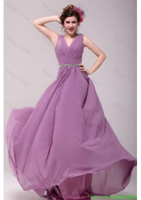 Beaded Decorate Waist V-neck Chiffon Lilac Bridesmaide Dress for Girls
