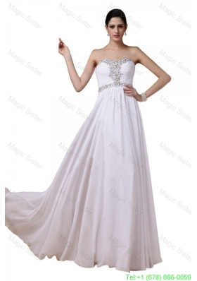 Beaded Sweetheart White Bridesmaide Dress with Empire Chiffon