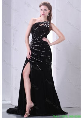 Beading and Rhinestone One Shoulder Black Column Celebrity Dress