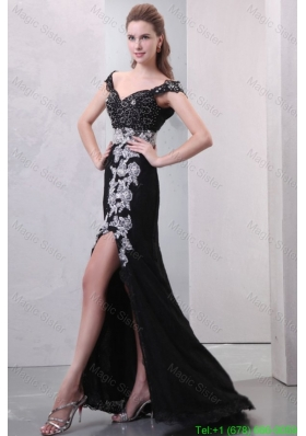 Black Off The Shoulder Appliques High Slit Cap Sleeves Celebrity Dress