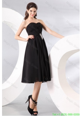 Black Sweetheart Beading and Ruching Empire Bridesmaide Dress