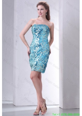 Brand New Strapless Column Sequins Mini-length Cocktail Dress in Teal