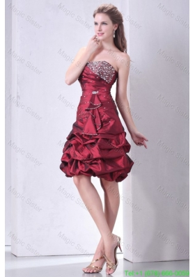 Burgundy A-line Strapless Cocktail Dress with Beading and Pick-ups