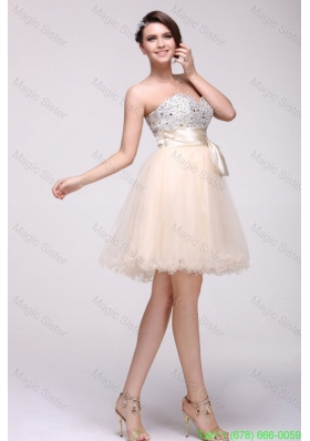 Champagne A-line Sweetheart Beaded Knee-length Cocktail Dress