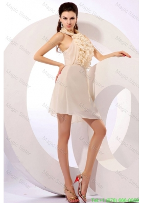 Champagne Chiffon Ruffles Bridesmaide Dress with Halter Top Mini-length