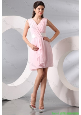 Column Baby Pink V-neck Chiffon Short Bridesmaide Cocktail Dress