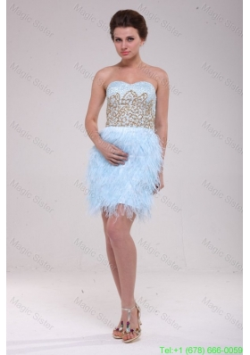 Column Light Blue Sweetheart Feather Sequins Satin Cocktail Dress