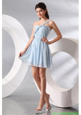Cute Light Blue One Shoulder Ruching Mini-length Bridesmaide Cocktail Dress