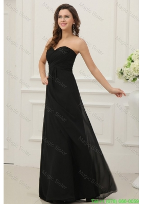 Discount Sweetheart Empire Chiffon Ruche Bridesmaide Dress in Black