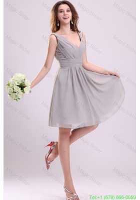 Empire Gray V-neck Ruching Chiffon Knee-length Bridesmaide Dress