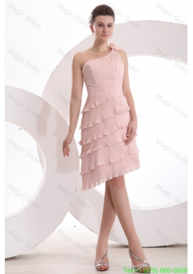 Empire One Shoulder Hand Made Flower Ruffled Layers Bridesmaide Dress