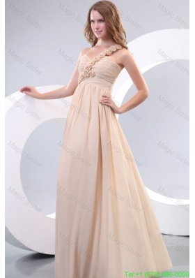 Empire One Shoulder Hand Made Flowers Chiffon Full Length Simple Bridesmaide Dress