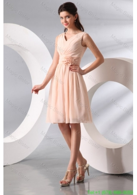 Empire V-neck Champagne Hand Made Flower Ruching Short Bridesmaide Dress