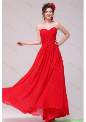Low Price Red Sweetheart Bridesmaide Dress with Chiffon Ruches
